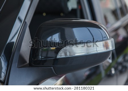 Rear-view mirror. Close up. - stock photo