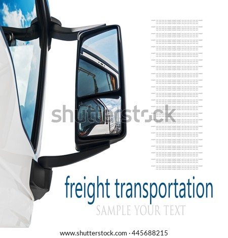 rear-view mirror on the truck. sky reflected in rear view mirror. focus on rear-view mirror. text deleted - stock photo