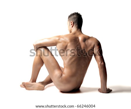 Rear view of a beautiful naked man - stock photo