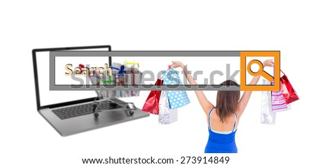 Rear view of a brunette woman raising shopping bags against search engine - stock photo