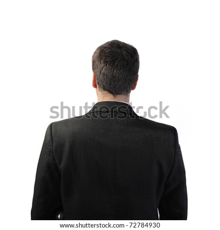 Rear view of a businessman - stock photo