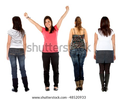 Rear view of a casual group of people with a girl facing the camera - isolated over white - stock photo