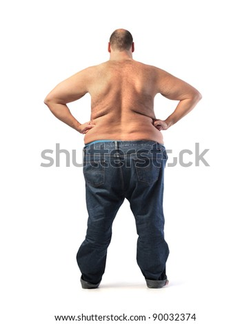 Rear view of a fat bare-chested man - stock photo