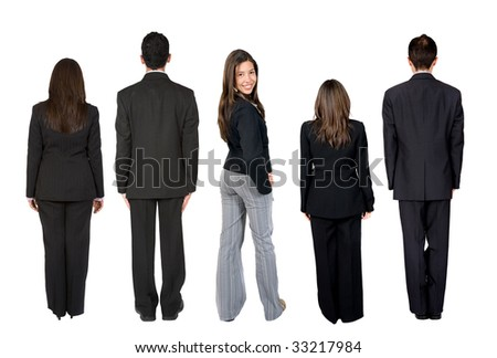 rear view of a group of business people isolated
