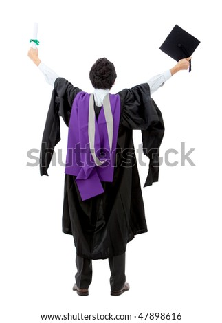 Rear view of a male graduate full of success with his arms up - isolated over white - stock photo