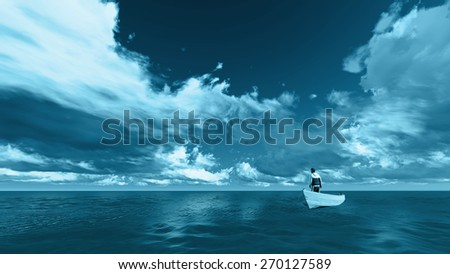 Rear view of a man on a boat in the sea - stock photo