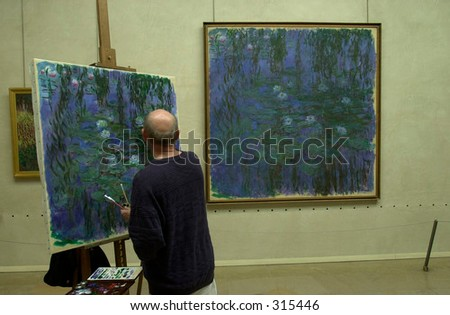 Rear view of a man painting in a room, Paris, France, - stock photo