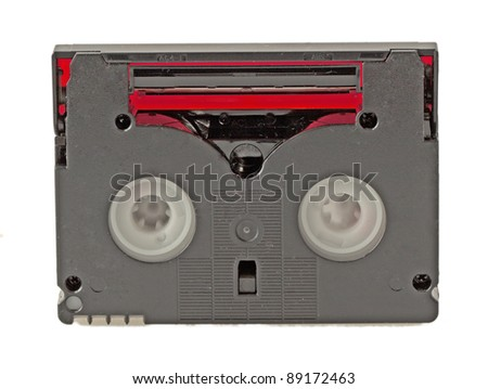 Rear view of a microtape for filming, isolated over white - stock photo