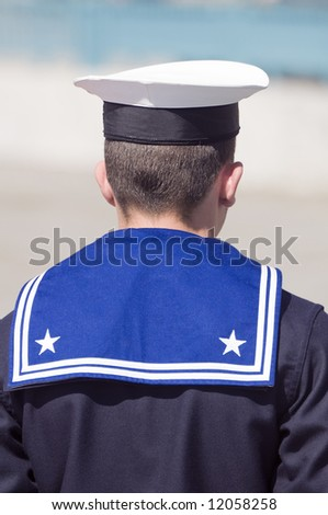 Rear view of a navy sailor during the guard - stock photo