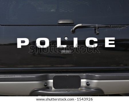 Rear view of a Police Paddy Wagon - stock photo