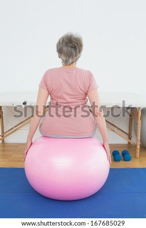 Rear view of a senior woman sitting on yoga ball in the gym at hospital - stock photo