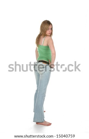 rear view of a sexy woman in faded denim - stock photo