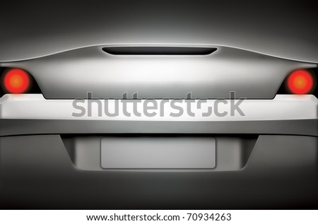 Rear view of a silver sports car with a blank license plate - stock photo