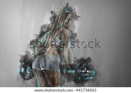 Rear view of a sportive woman workout with a barbell. Background drips. Abstract art of Sport. in color