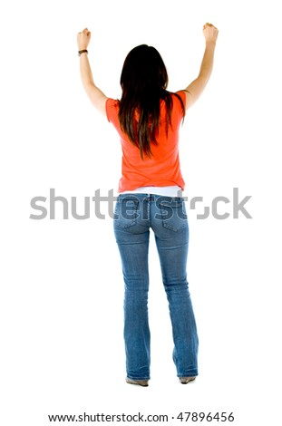 rear view of a successful girl looking happy with her arms up isolated - stock photo