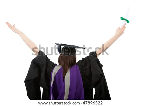 rear view of a successful girl with her arms up isolated