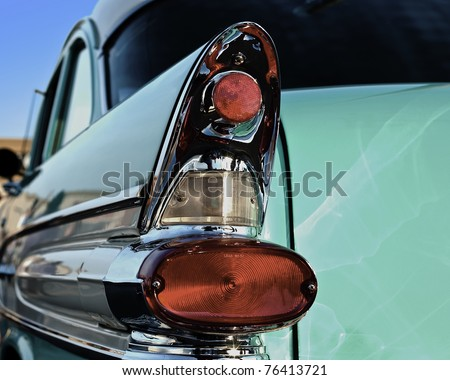 Rear view of a vintage car fin closeup. - stock photo