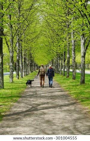 rear view of a young couple taking the dog for a walk  - stock photo