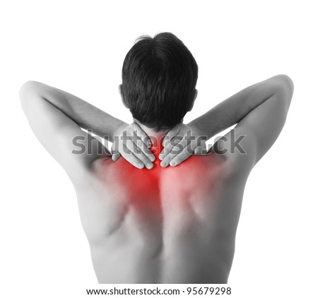 Rear view of a young man holding her neck in pain, isolated on white background, monochrome photo with red as a symbol for the hardening - stock photo