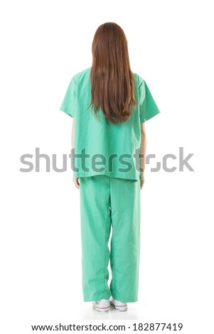 Rear view of Asian doctor woman wear a isolation gown or operation gown in green color, full length portrait isolated on white. - stock photo