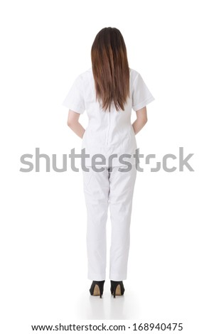 Rear view of Asian nurse dress on white clothes, full length portrait isolated on white background. - stock photo