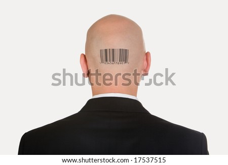 Rear view of bald head with barcode on its back - stock photo