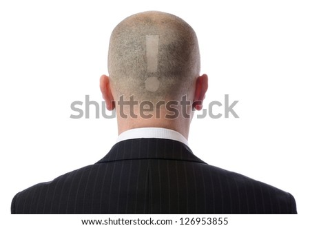 Rear view of bald man wearing suit over white background - stock photo