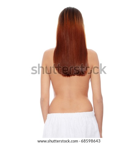 Rear view of beautiful young woman with healthy long hairs, isolated on white