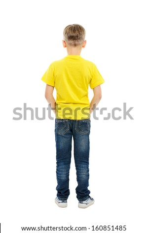 Rear view of boy isolated on white background - stock photo