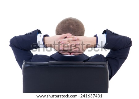 rear view of business man sitting on office chair isolated on white background - stock photo