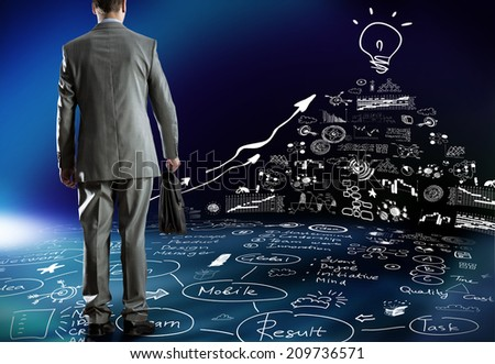 Rear view of businessman and business strategy sketches on wall - stock photo