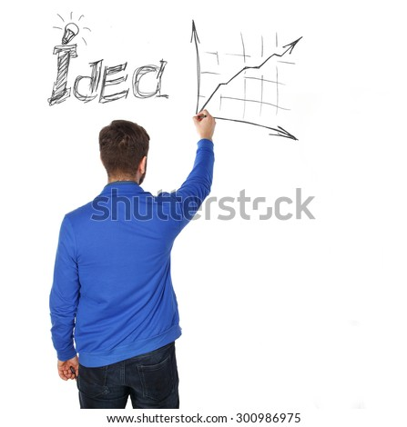 Rear view of businessman drawing business sketch on wall. Good idea. Man drawing on the wall. The advertising concept for company. - stock photo