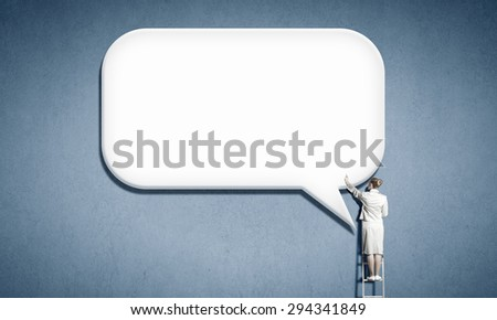 Rear view of businesswoman standing on ladder email concept
