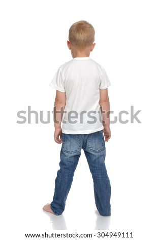Rear view of caucasian full body american baby boy kid in tshirt and jeans standing isolated on a white background - stock photo