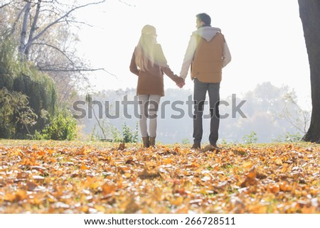 Rear view of couple holding hands in park during autumn - stock photo