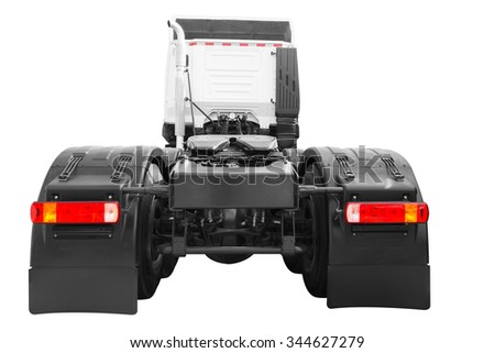 Rear view of Delivery transport Truck Trailer isolated on white background with clipping path - stock photo