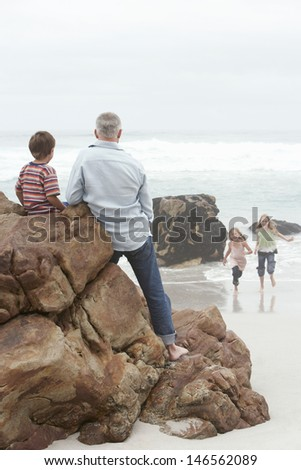 Rear view of father and son on rock with girls running in water at beach - stock photo