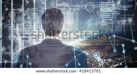 Rear view of handsome businessman against image of a earth