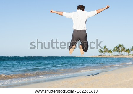 Rear view of happy man jumping at beach - stock photo