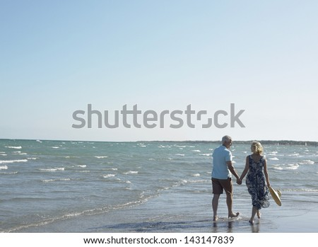 Rear view of happy senior couple holding hands and walking on tropical beach - stock photo