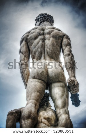rear view of Hercules and Cacus statue in Florence, Italy - stock photo