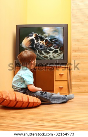 """Rear view of little boy sitting on the floor and watching cinema on TV at home. TV screen - """"tortilla"""" photo of the author - stock photo"""