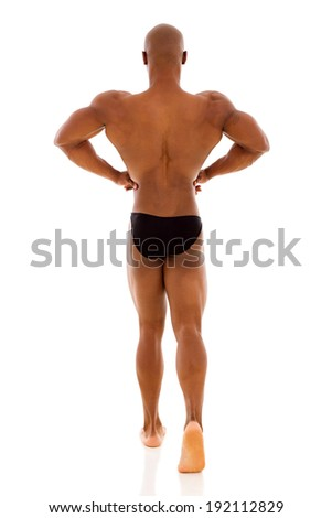 rear view of male african american bodybuilder posing - stock photo