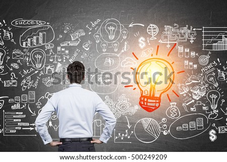 Rear view of man looking at light bulb and business sketches on blackboard. Concept of strategy development