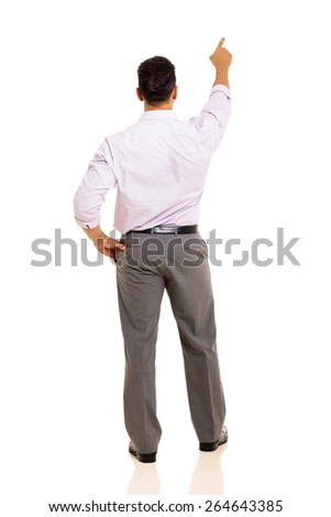 rear view of man pointing at empty copy space isolated on white - stock photo