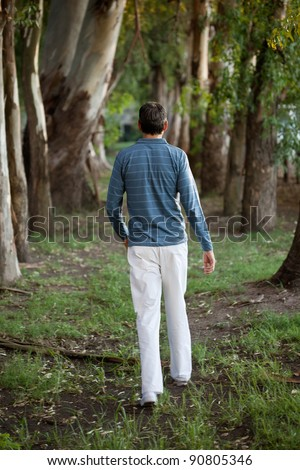Rear view of man walking alone in the woods - stock photo