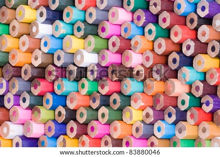 Rear view of many colored wooden pencils - stock photo