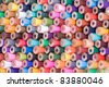 Rear view of many colorful wooden pencils - stock photo