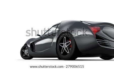 Rear view of metallic gray sports car isolated on white background. Original design. 3D rendering image. - stock photo