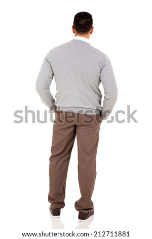 rear view of middle aged man isolated on white background - stock photo